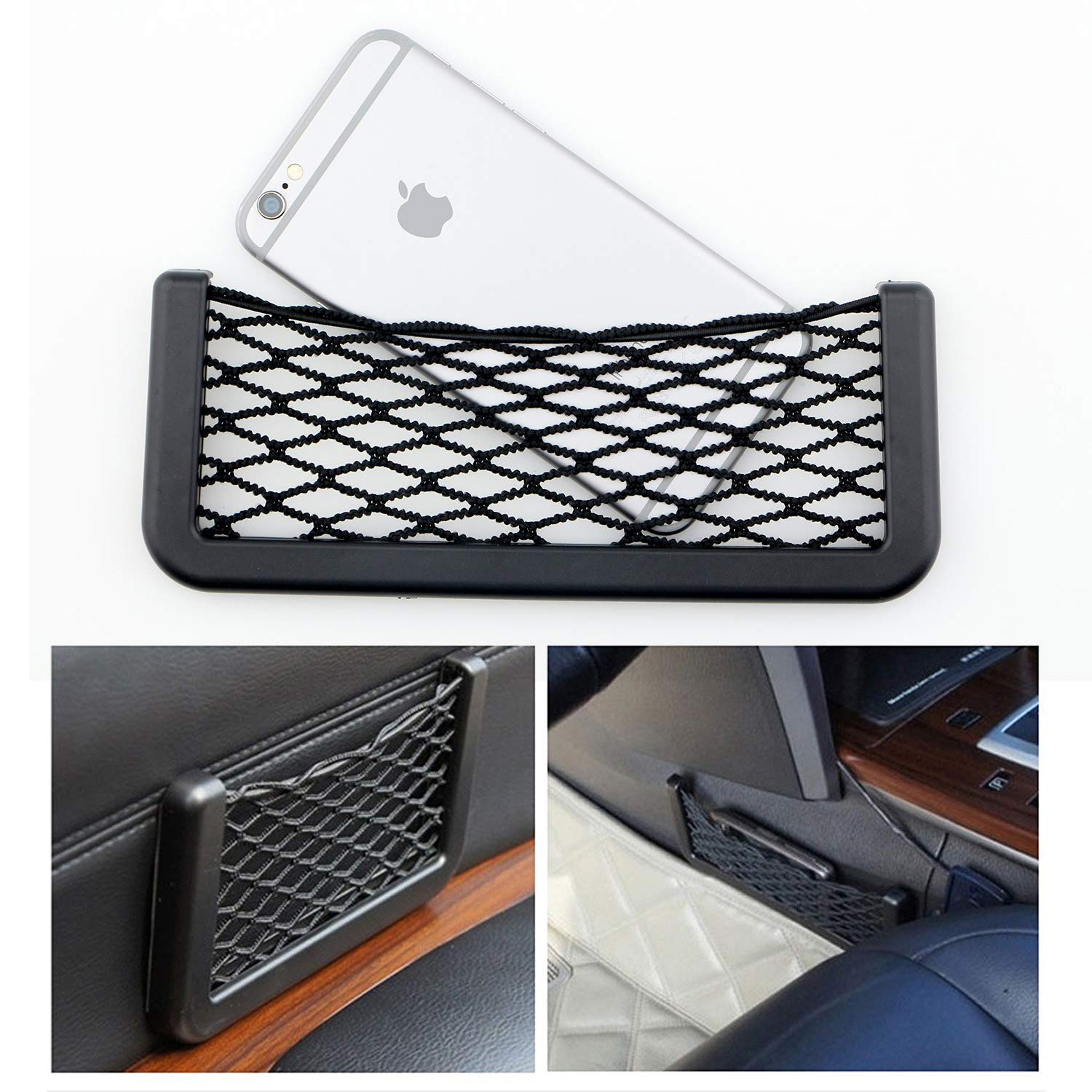 Universal Car Seat Side Storage Nets Resilient Pocket Organizer adhesive box auto accessories pouch GPS Phone Holder 20x8cm