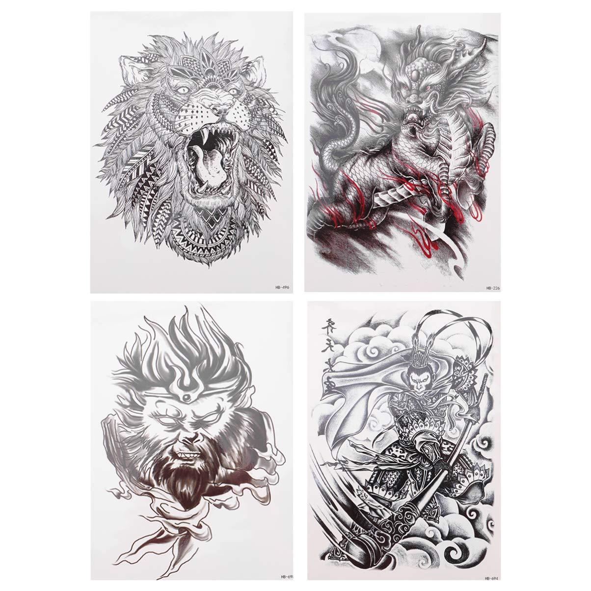 Lurrose 4Pcs Full Arm Tattoo Sticker Animal Fake Tattoos Sleeve Temporary Tattoo Body Art for Men Women Party Halloween Masquerade (White Black)