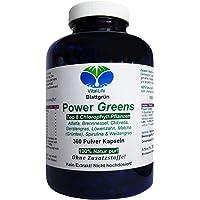 Power Greens Top 8 Chlorophyll Pflanzen 360 Pulver Kapseln Natur Pur NICHT hochdosiert KEIN Extrakt OHNE Zusatzstoffe OHNE Füllstoffe. Hergestellt und abgefüllt in Deutschland. 26333