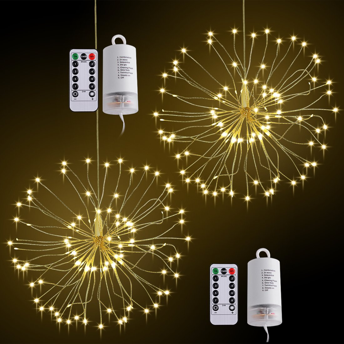 LED String Light,2 Pack Battery Operated Hanging Starburst Light 120 LED Bouquet Shape lights,Fairy Twinkle Light 8 Modes Dimmable with Remote Control,Decoration for Outdoor Home Patio(Warm White) by Elitlife (Image #1)