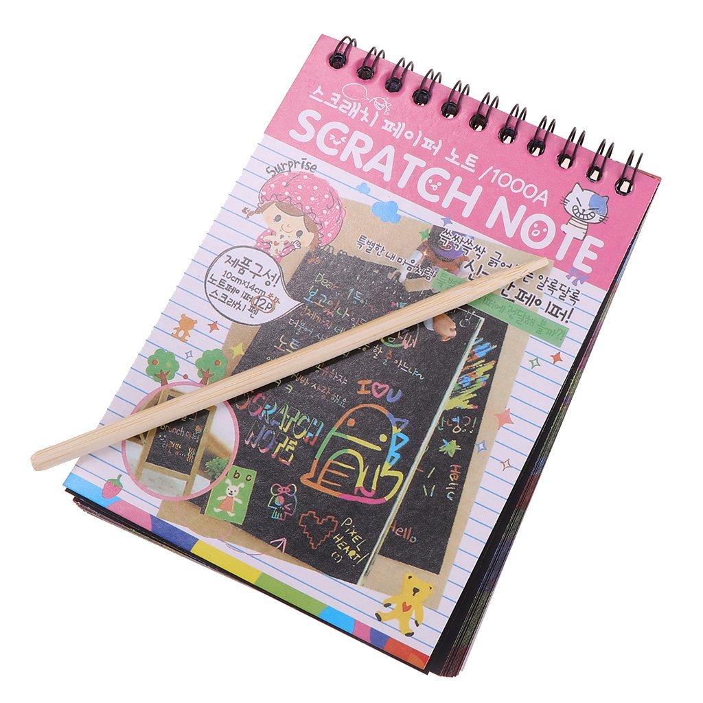 Baoblaze 5 Pieces Rainbow Scratch Pad Kawaii Children's Craft Scratch Book DIY Sketchbooks for Fun - Pink by Baoblaze (Image #7)