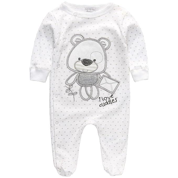 Pijama Pelele Bebé Blanco Unisex Osito (0-3 Meses)