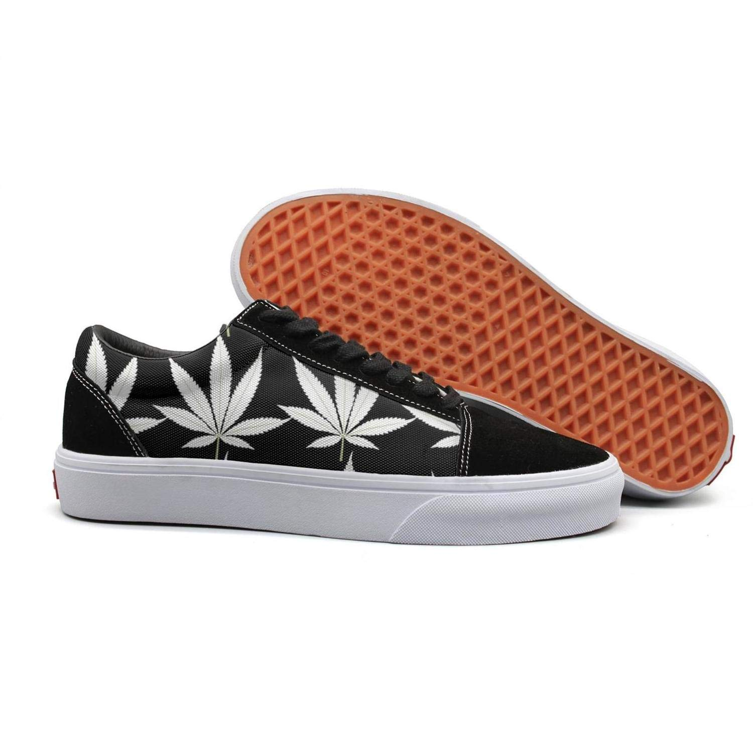 Marijuana White Leaves 8.5 B(M) US Uieort Marijuana White Leaves Womens Lace Up Sneakers shoes Casual
