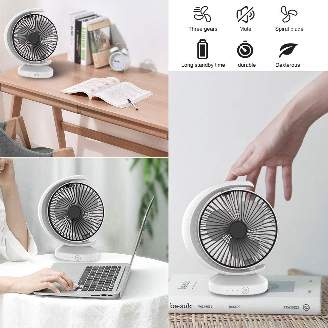 Rechargeable Desk Fan 3 Speeds Desk Desktop Table Cooling Fan Strong Wind,Quiet Operation,for Home Office Car Outdoor Travel White lurui USB Desk Fan