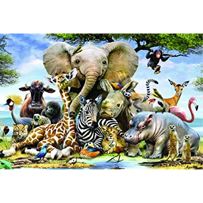 Jigsaw Puzzles for Adults 1000 Pieces - Animal World, Educational Intellectual Decompressing Fun Game for Kids Adults Elephant: Toys & Games