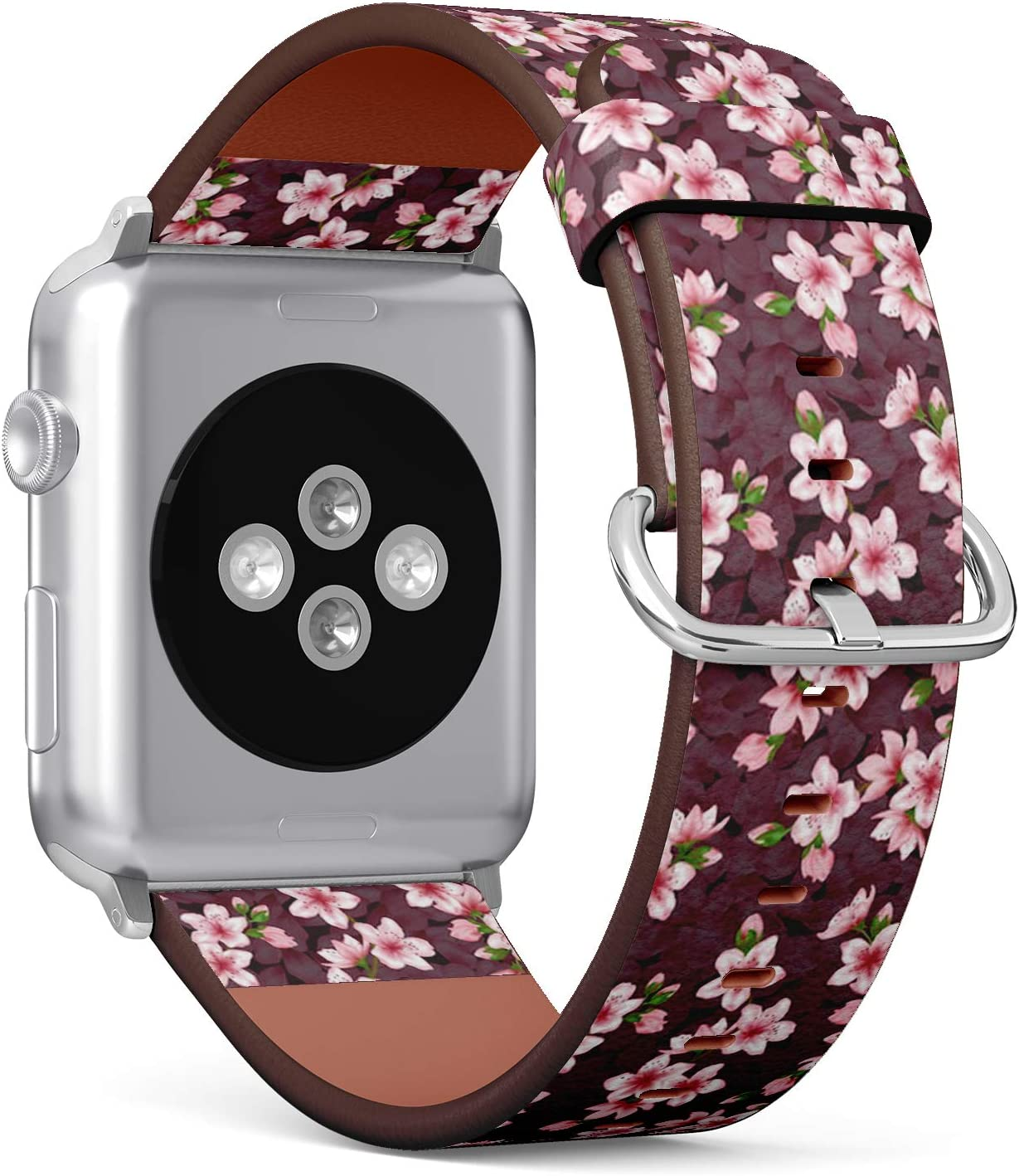 Compatible with Apple Watch iWatch (42/44 mm) Series 5, 4, 3, 2, 1 // Leather Replacement Bracelet Strap Wristband + Adapters // Japanese Cherry Blossom Image