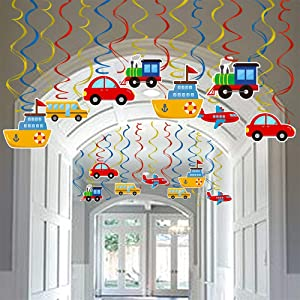 Transportation Party Hanging Swirl Decorations 30 Ct Car Bus Train Plane Ship DIY Hanging Decor for Kids Baby Shower Birthday Party Supplies