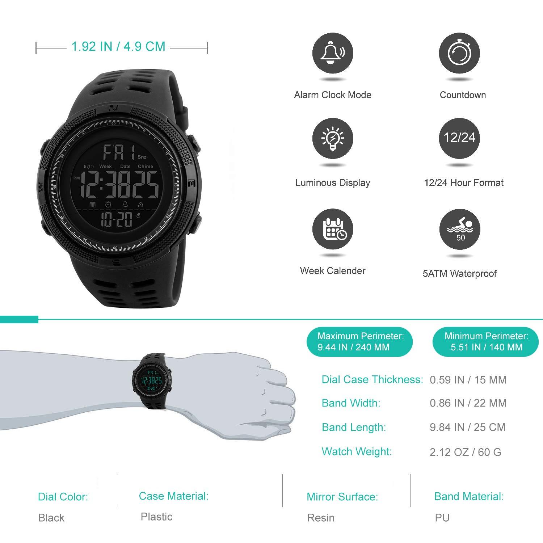 Reloj Digital para Hombre - 50M impermeable Deportivo Relojes de pulsera Prueba para Hombre, Reloj Militar Negro LED con Alarma/cuenta ...