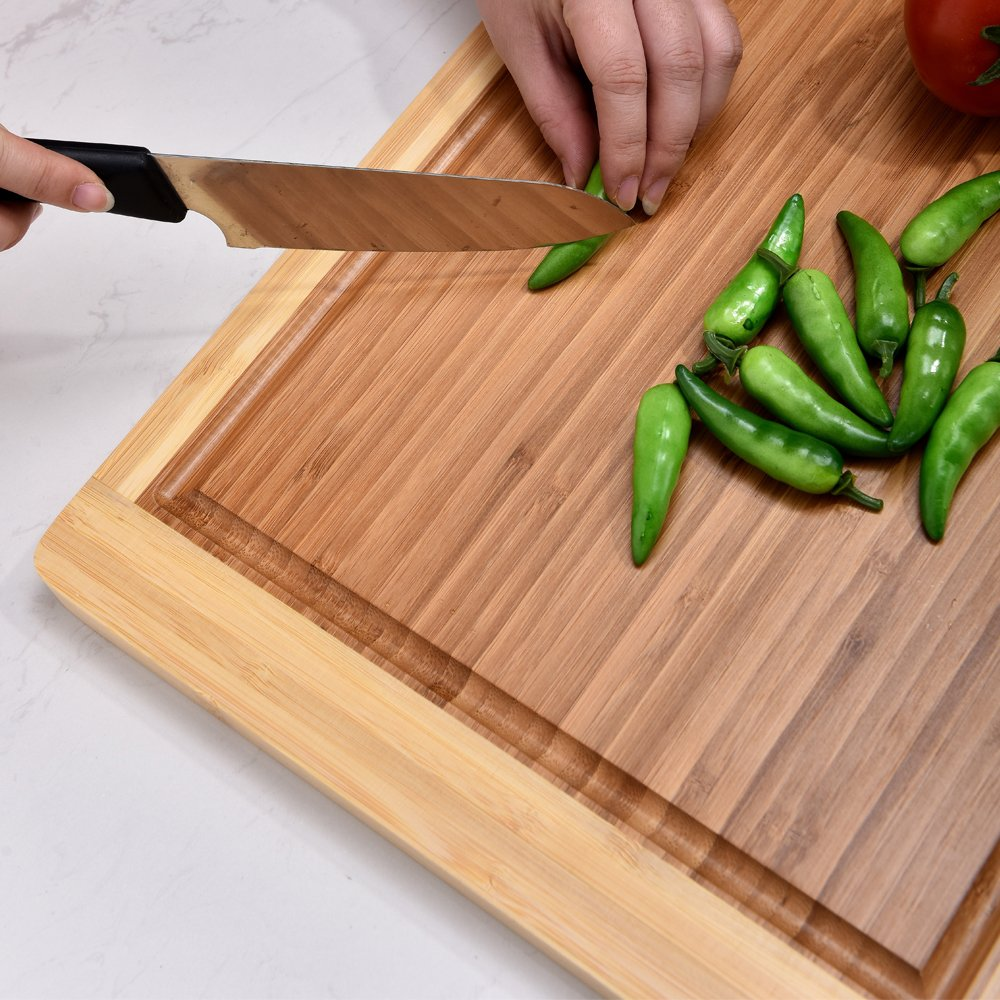 comllen extra large kitchen bamboo cutting board chopping board with drip ebay. Black Bedroom Furniture Sets. Home Design Ideas