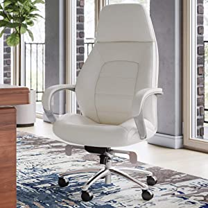 Zuri Furniture Gates Genuine Leather Aluminum Base High Back Executive Chair - Cream