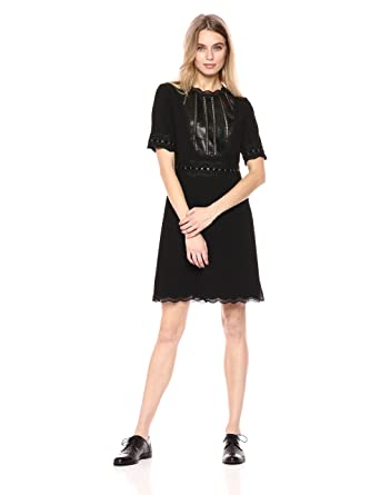 5c4c4235167 The Kooples Women's Leather Detailing Structured Dress at Amazon Women's  Clothing store: