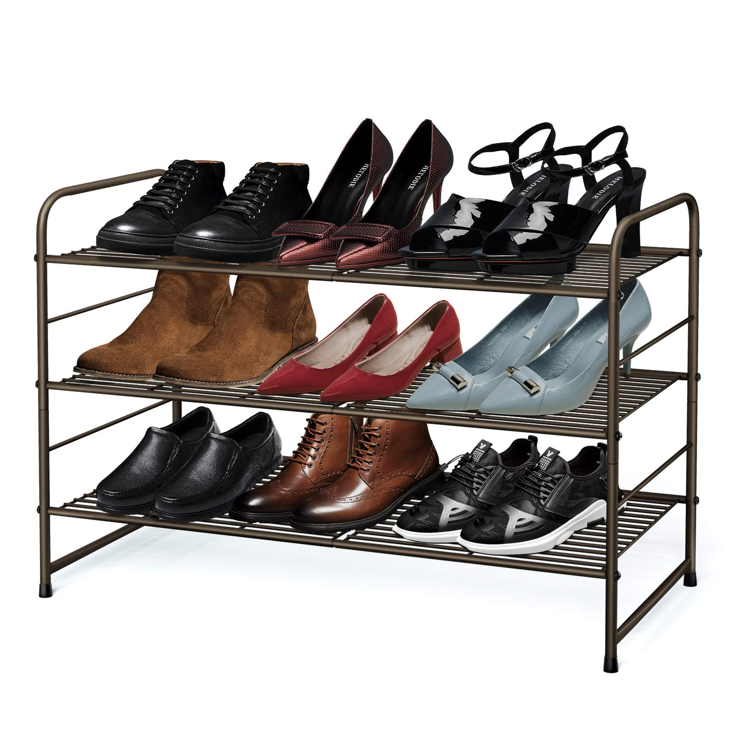Simple Trending 3-Tier Stackable Shoe Rack, Expandable & Adjustable Shoe Shelf Storage Organizer, Wire Grid, Bronze