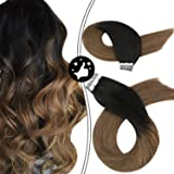 Moresoo 14 Pulgada Tape Hair Extensions Cabello Natural Color #1B Off Black Ombre to #10 Marrón Tape in Extensions 20piezas E