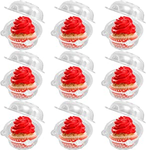 100PCS Individual Cupcake Container, Plastic Disposable Clear Single Compartment Cupcake Carrier Holder Boxes for Cakes, Ice Cream, Dessert Cups, for Thanksgiving, Halloween, Christmas, New Year Party
