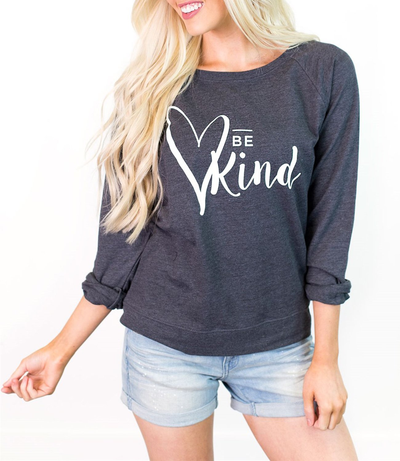 Enmeng Womens Casual Be Kind Printed Sweatshirts T Shirt Kindness Christian Pullover Tops (M, Dark Grey)