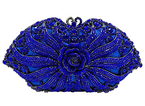 Partido Bolso Mujer Noche Bolsas Nupcial Carteras Brillo Mano Cristales Cadena Embrague Flores Azul