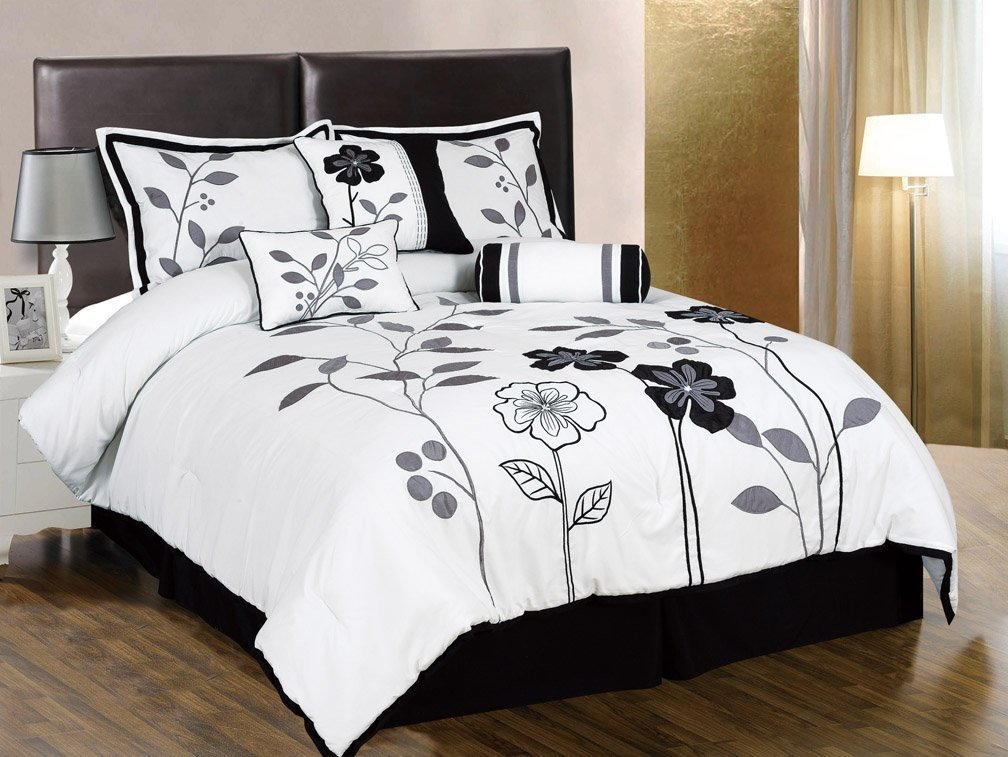 Amazoncom Chezmoi Collection Piece White Grey And Black Lily - Black white grey comforter sets