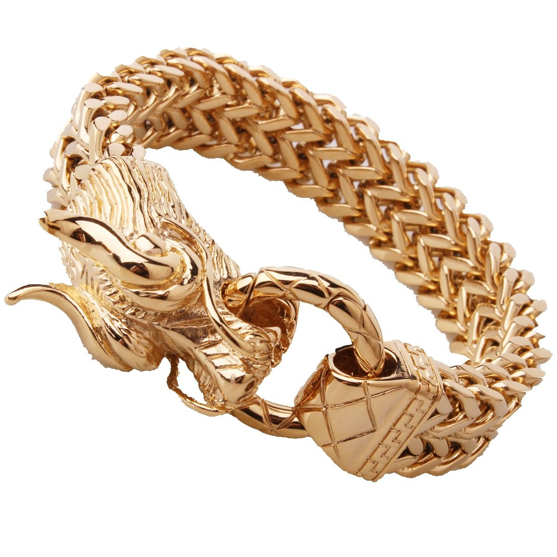 Gold Figaro Rolo Chain Bracelet Mens Cuff Jewelry Stainless Steel Dragon Head Clasp 8.66