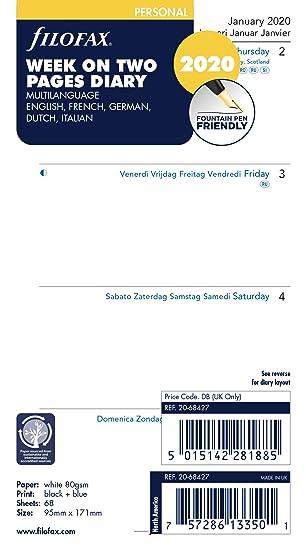 Filofax - Agenda personal (vista semanal en dos páginas, 5 ...