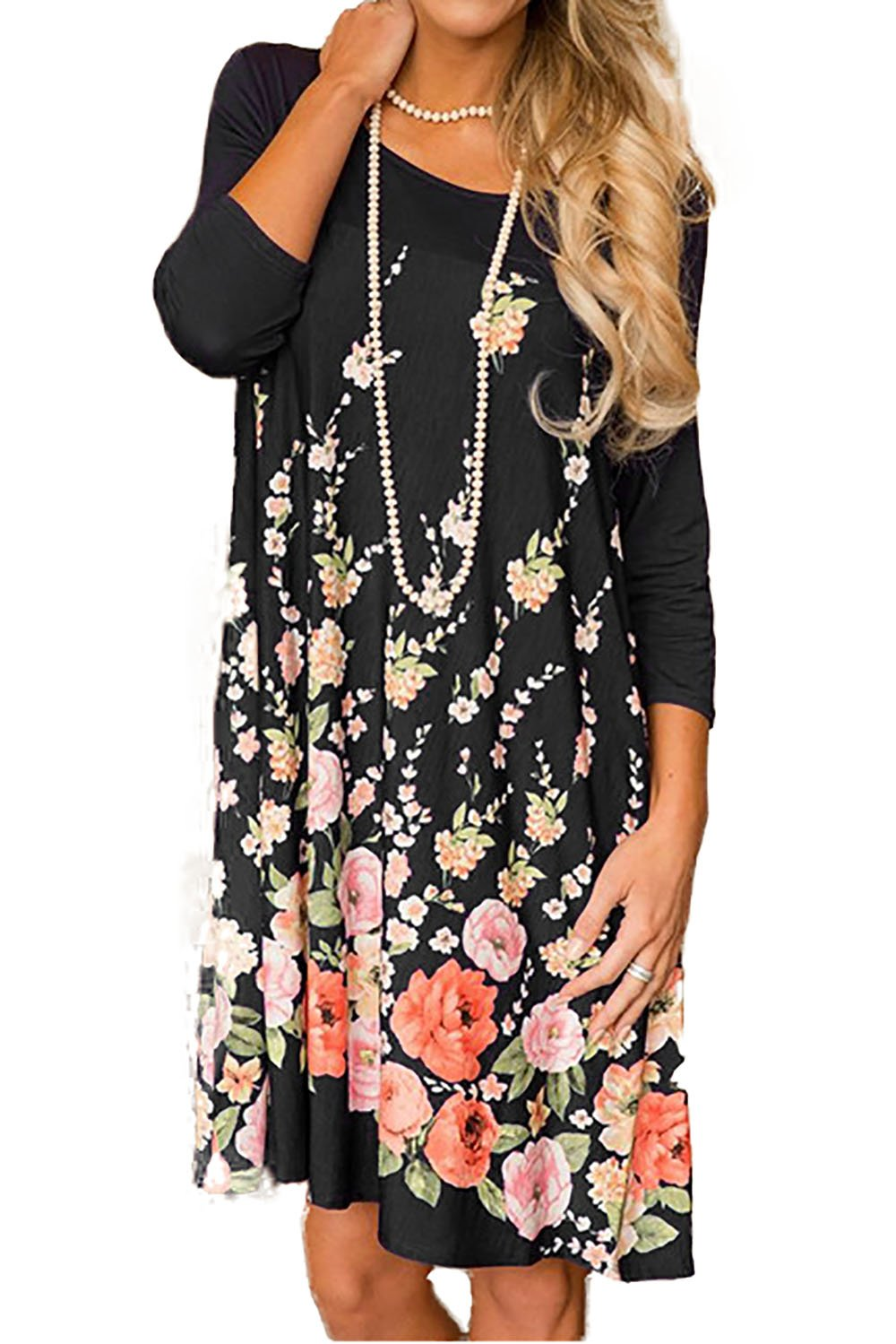 Minipeach Women's Floral Print Crew Neck Long Sleeve T-Shirt Dresses With Pockets