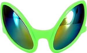 Green Alien Martian Costume Glasses with Rainbow Lenses