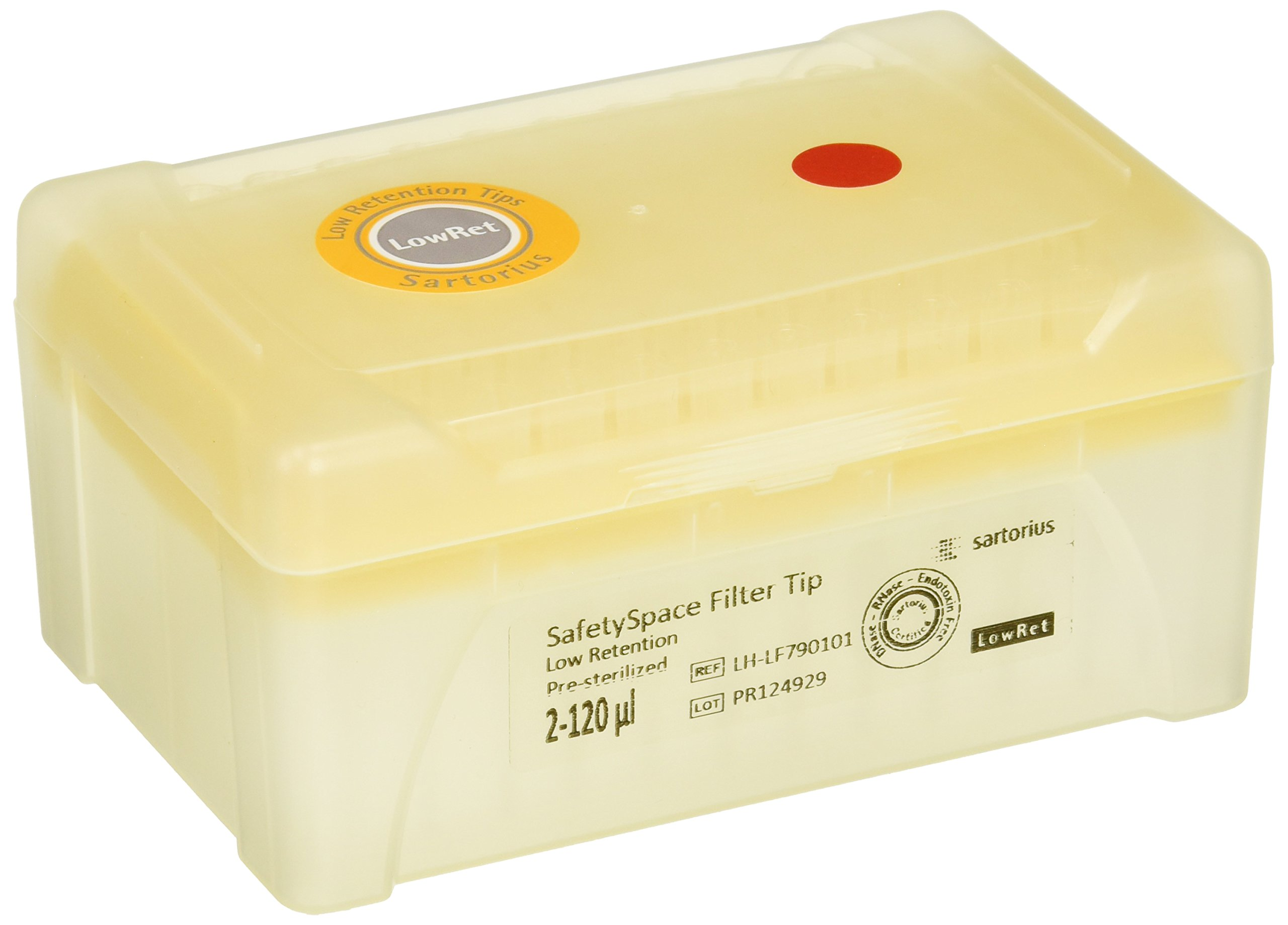 Sartorius Corporation LH-LF790101 SafetySpace Filter Tip Low Retention, 2-120 uL, Single Tray, Sterile (Pack of 960)