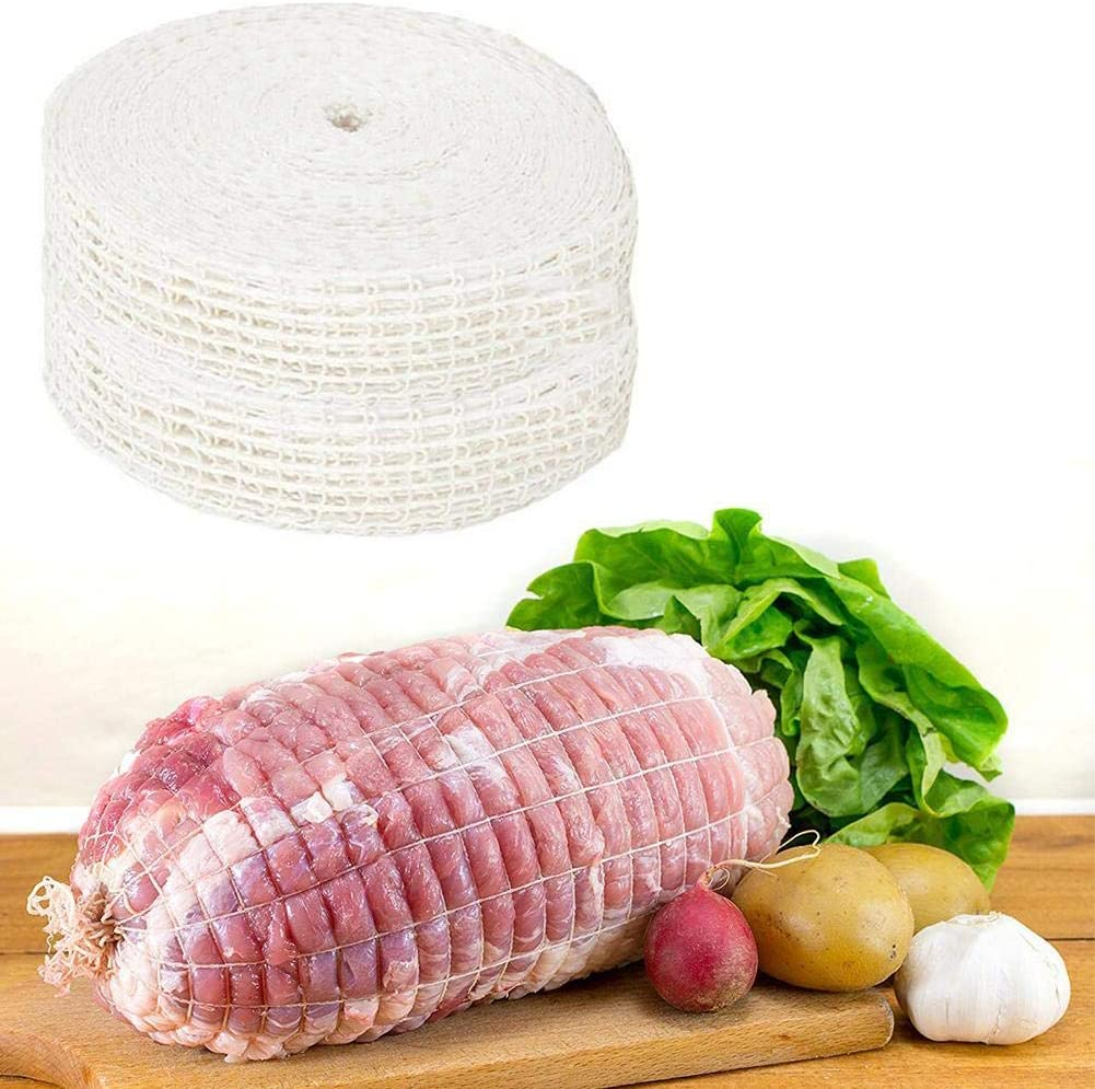 Clara Tracy 1 Meter Cotton Elastic Meat Netting Butchers Net Ham Roast Strings Sausage Roll Net Hot Dog Net Meat Cooking Kitchen Packaging Tools