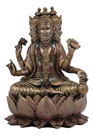 Ebros Supreme Cosmic Soul Hindu Deity Brahma Statue Brahman Four Faced Vedas Trinity Being Figurine Sitting On Lotus Throne Hinduism Deity Indian Mahadeva God