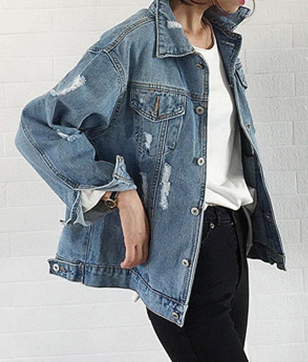 51095d67d LadyKing Women s Denim Jacket Oversize Ripped Jean Jacket Boyfriend ...