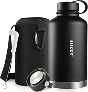 64 oz Stainless Steel Water Bottle, AOZEX Double Wall Half Gallon Vacuum Insulated Water Bottle, Wide Mouth Large Water Bottle with 2 BPA Free Leakproof Lids - Keep Cold for 24 Hrs/Hot for 12 Hrs