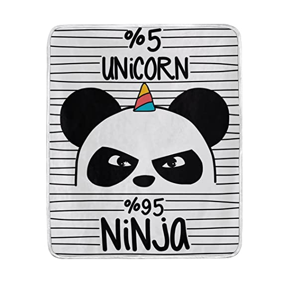 Use7 Home Decor Lindo Panda Unicornio Citas Manta Suave ...