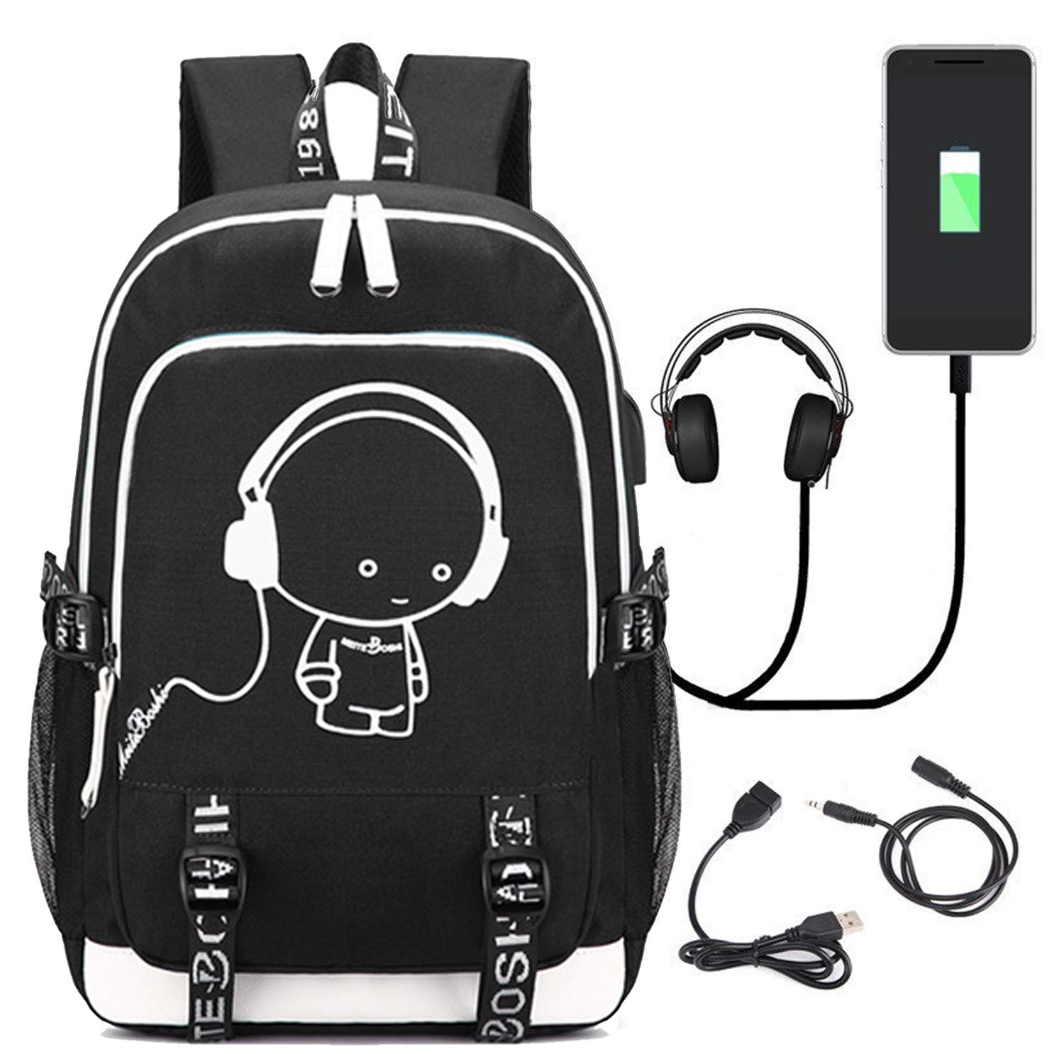 Travel Laptop Backpack, Lightweight Fortnite Multi-Functional Water-Resistant Casual Trekking Rucksack, Sports Daypack with USB Charging Port and Headset Port