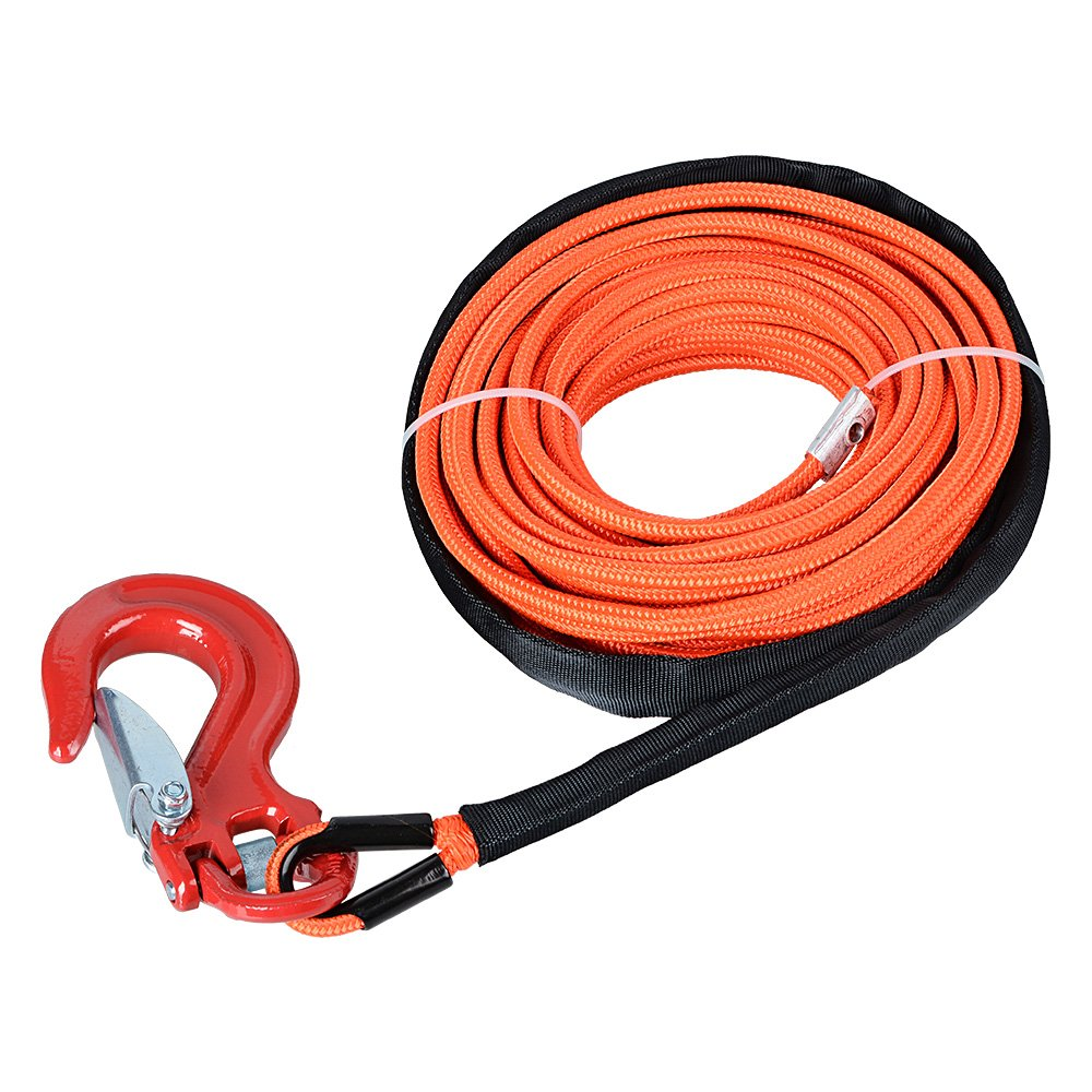 Astra Depot 50' x 1/4 7000lbs Orange Synthetic Winch Line Cable Rope w/Rock All Heat Guard + RED Heavy Duty Half-Linked Hook ATV UTV SUV KFI Recovery Replacement Winch Rope Kit