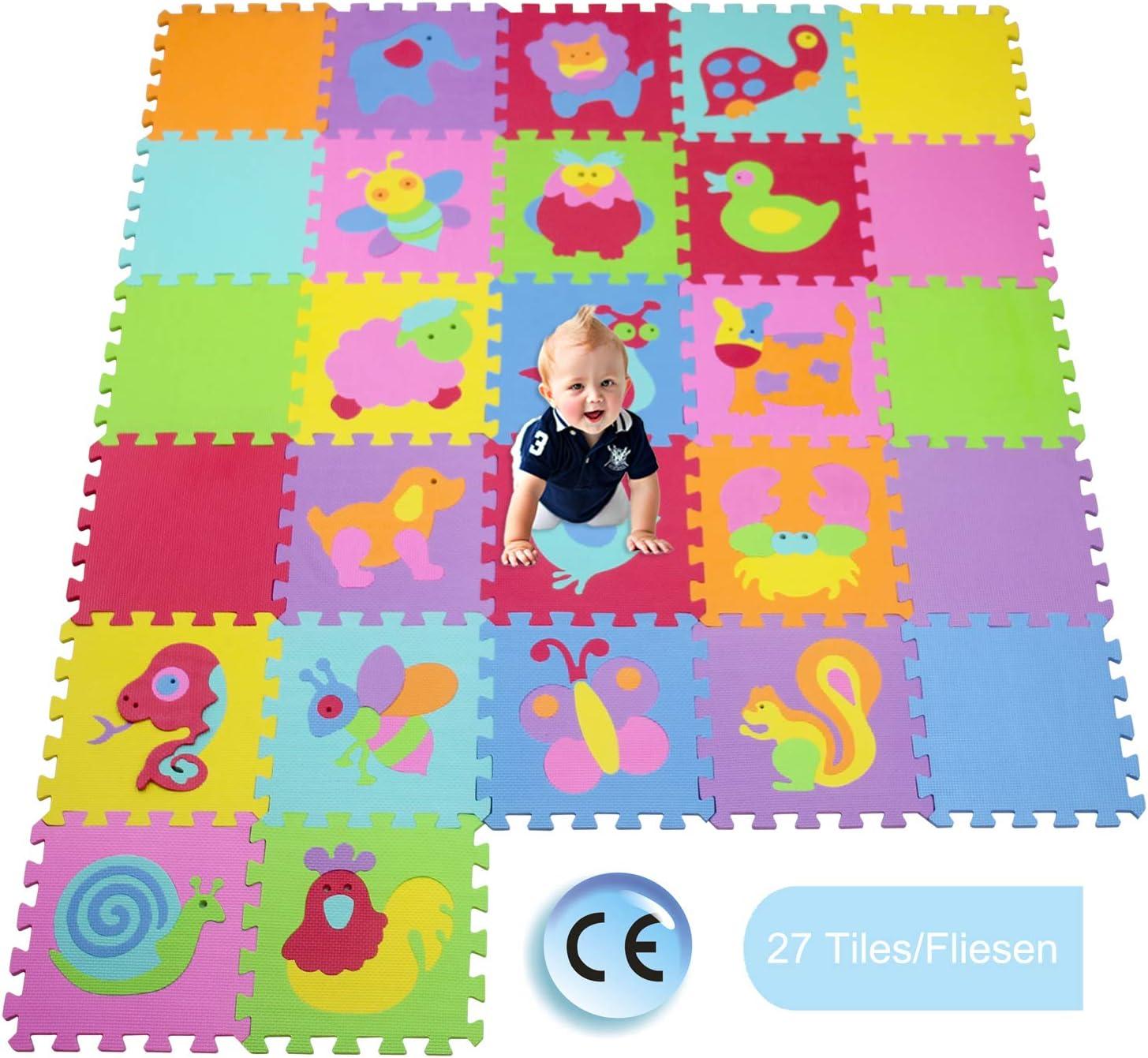 XMTMTD Alfombra Puzle Niños Colchoneta Suave niños Puzzle Play Mat Colorido Suave no tóxico Jigsaw Espuma baldosas de Piso y Juguetes Estera Juego Puzzle para Bebé EVA AMT1011CS9G300927
