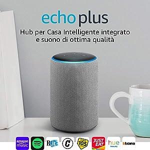Echo Plus (2ª generazione) Ricondizionato Certificato – Hub per Casa Intelligente integrato e suono di ottima qualità - Tessuto grigio mélange