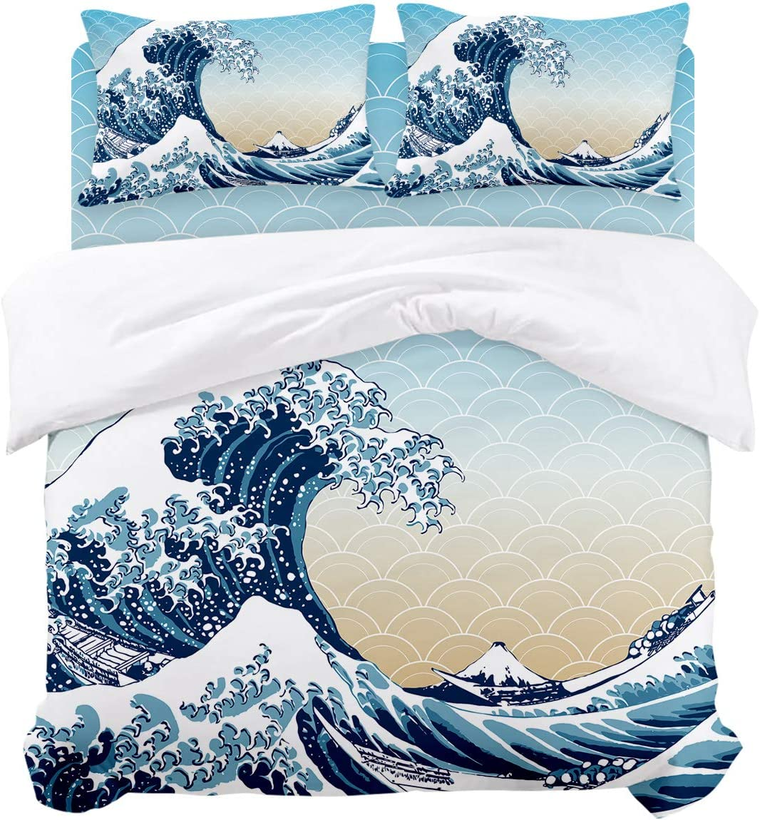 Woloudy King Duvet Cover Set, The Great Wave Off Kanagawa by Katsushika Hokusai Ultra Soft Microfiber 4 Piece Bedding Set Bedspread Comforter Cover and Pillow Shams for Adult/Children/Boys Girls