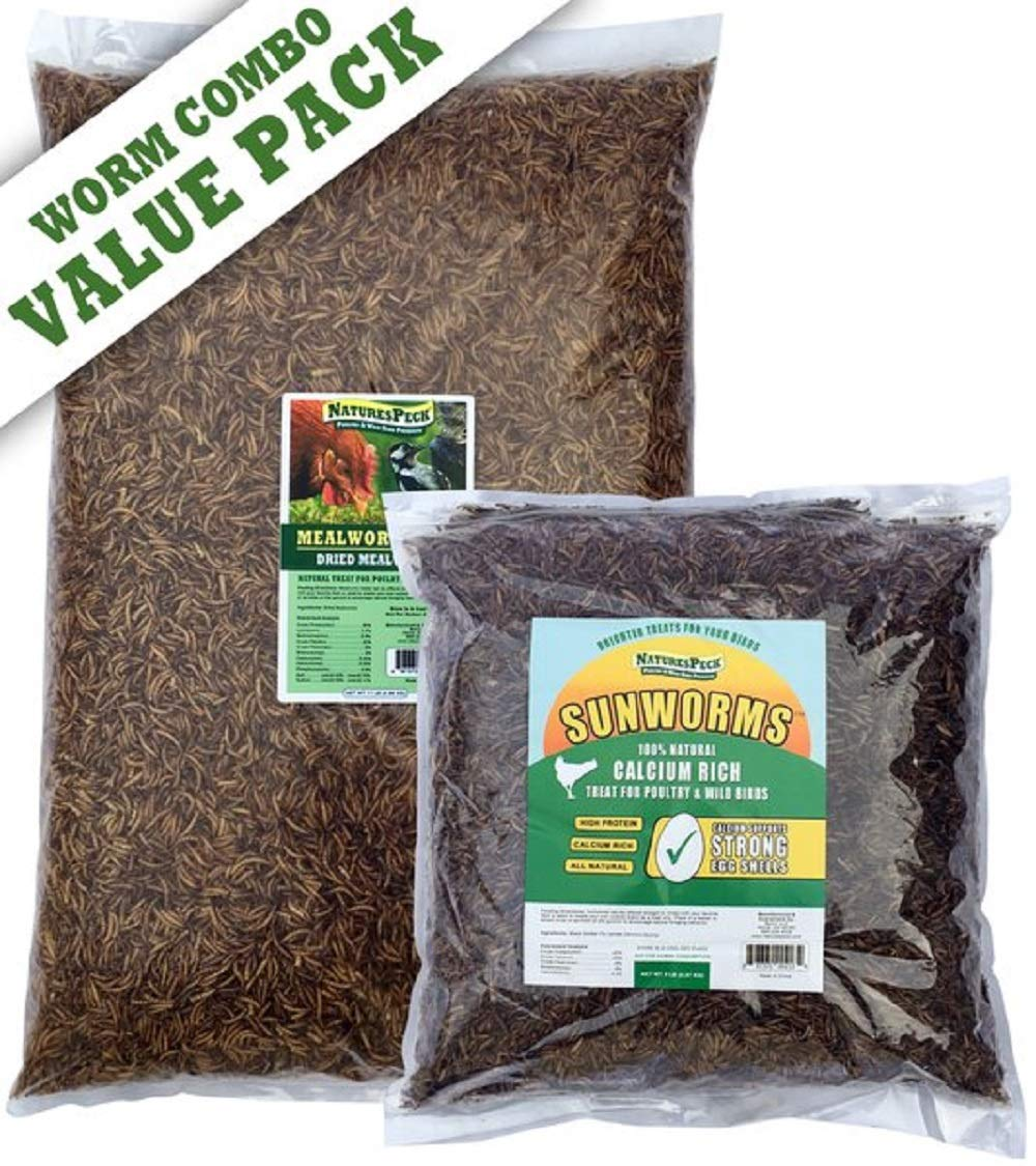 NaturesPeck Worm Value Pack- 16lbs (11lbs Mealworms + 5lbs Sunworms)