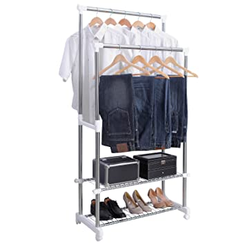 Amazon.com: SONGMICS Adjustable Double Rail Garment Rack Rolling ...