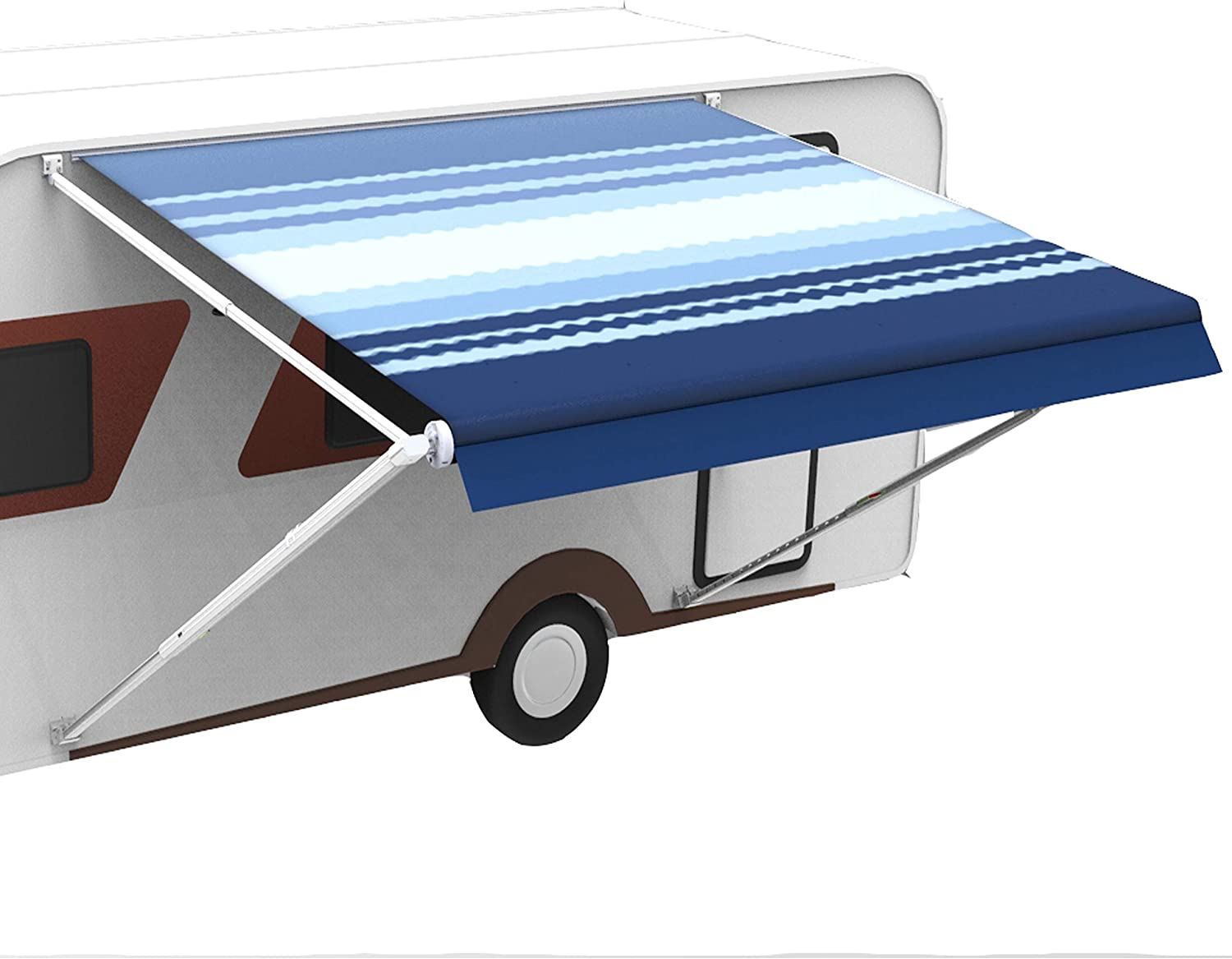 Amazon Com Awnlux Rv Canopy Awning Fabric For 11 Feet Carefree Roll Up Awning Fabric Size 10 Feet 2 Inch 100 Waterproof Uv Resistance Blue White Blue Automotive