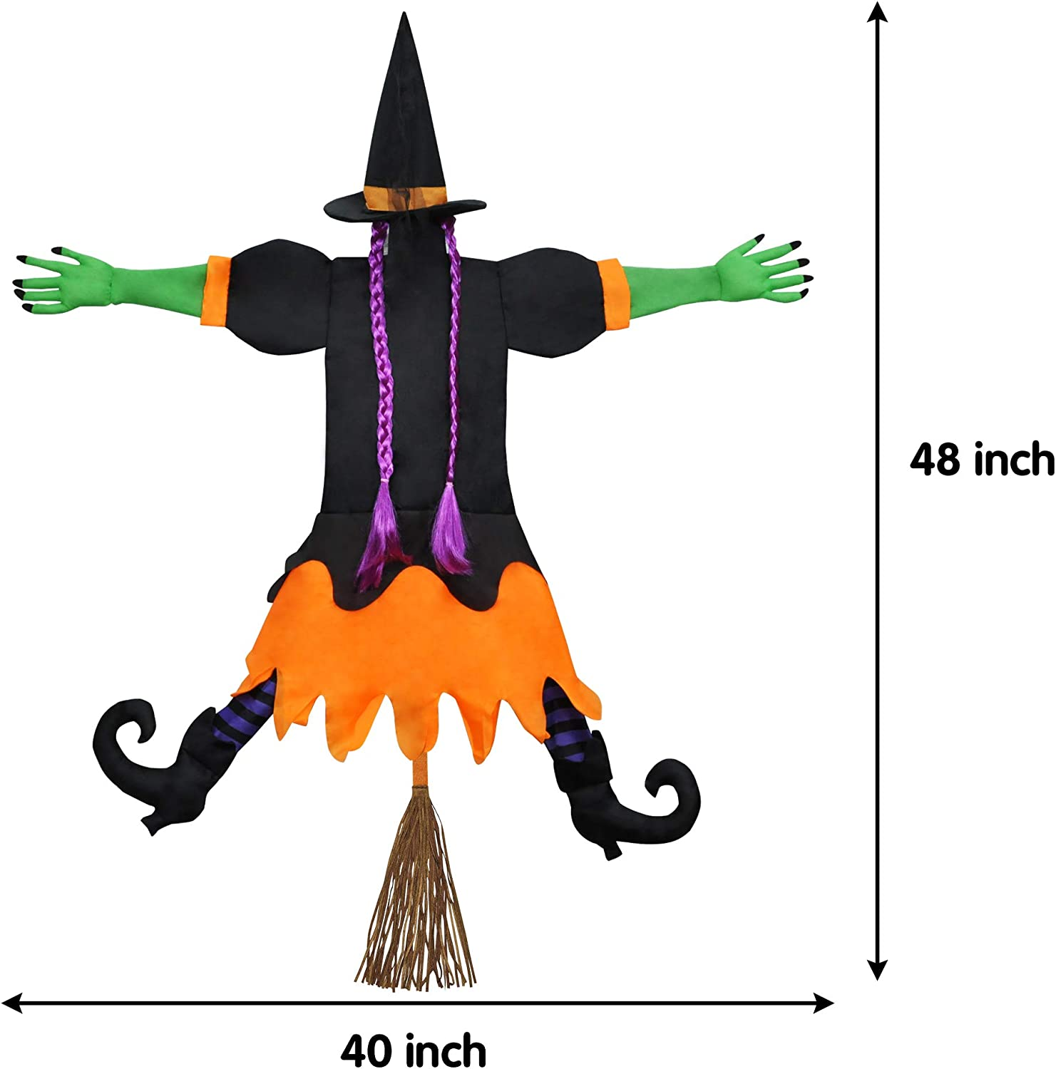Crashing Witch Into Tree Halloween Decoration 2 Packs Halloween Outdoor Tree Trunks or Pillars Decor