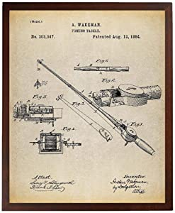 Turnip Designs Fishing Rod and Reel 1884 Patent Poster Art Print Vintage Fishing Fisherman Gift Lake House Decor Cabin Art TNP164