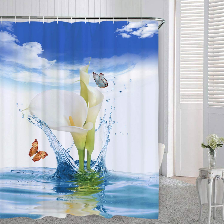 Cactus Flowers Blossom Bath Curtain Durable Waterproof Fabric Bathroom Curtain BLEUM CADE Smurfs Yingda Bathroom Shower Curtain Tropical Cactus Shower Curtains with 12 Hooks Cactus, 70 L /× 69 W