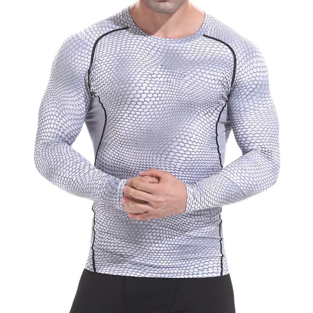 Rosennie Mens Base Layers,Men Quick Dry Tights Breathable Compression Skin Tights Fitness Sweat/Gym Running Tops