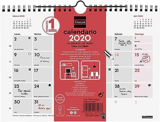 Finocam - Calendario de pared 2020 Escribir español: Amazon.es: Oficina y papelería