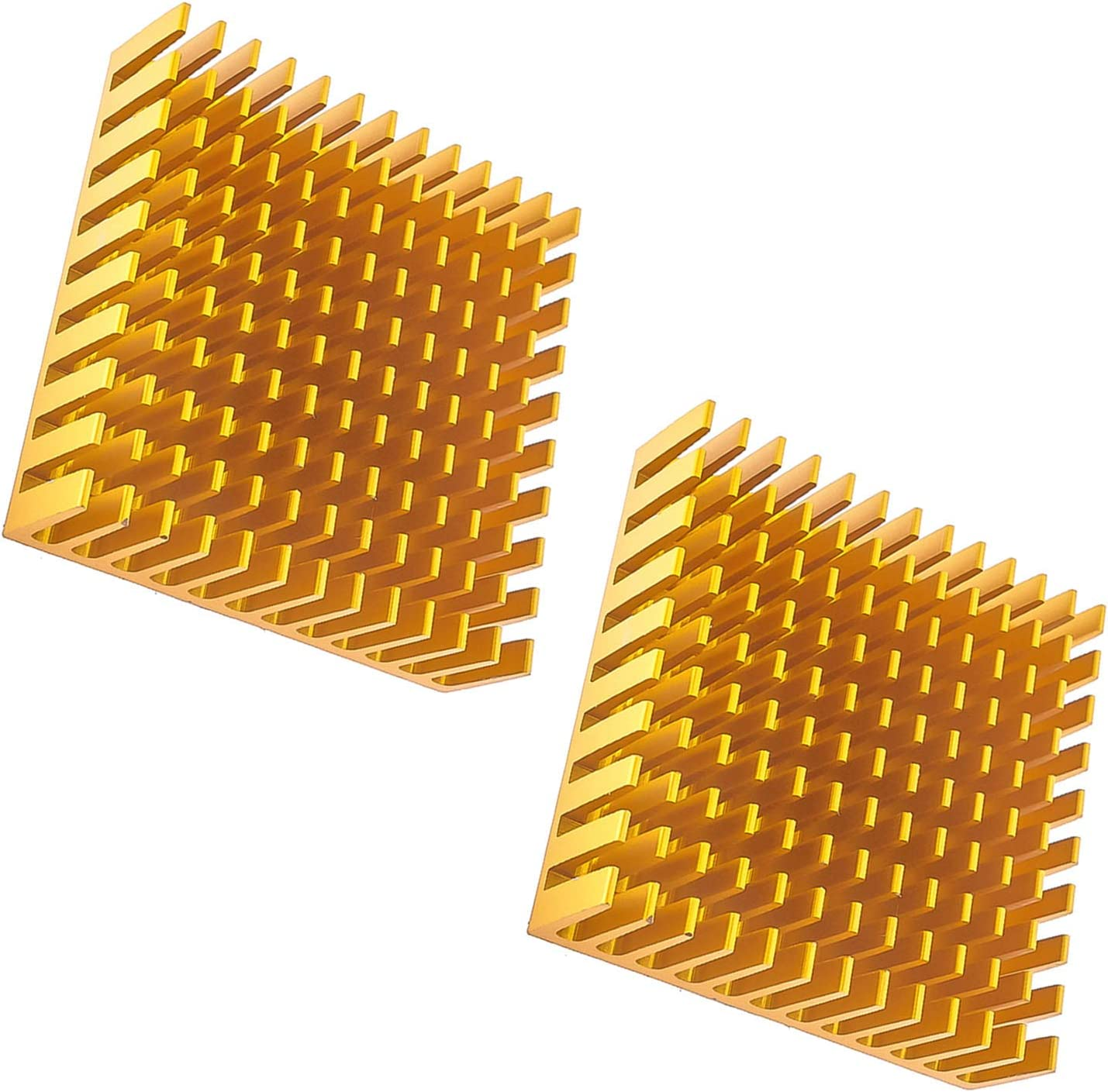 RuiLing 2-Pack 40x40x11mm Aluminum Cooling Heatsink Square Golden CPU Heat Sink Cooler Fin with 3M Silicone Based Thermal Pad Adhesive Stickers