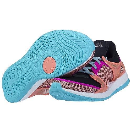 adidas Pure Boost X TR W, Chaussures de Foot Femme, Noir/Rose/Rouge (Noir Essentiel/Rose Shocking/Rayon de Soleil), 37 1/3 EU