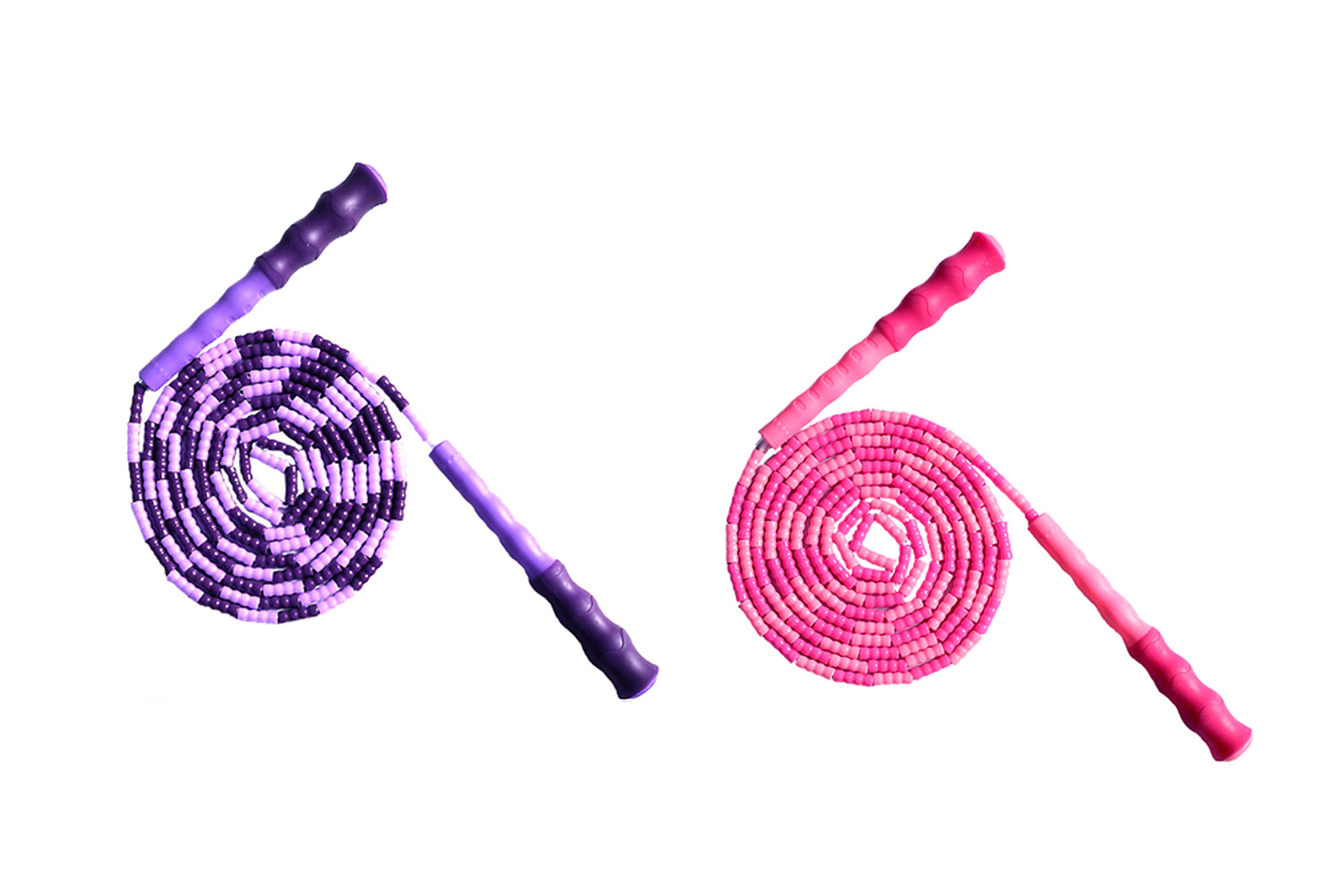 LETUSPORT 9 Feet Adjustable Beaded Segmented Jump Rope for Women Men Kids Lightweight Work Out Speeding Jumping Ropes (Pink+Purple, 2 pcs)