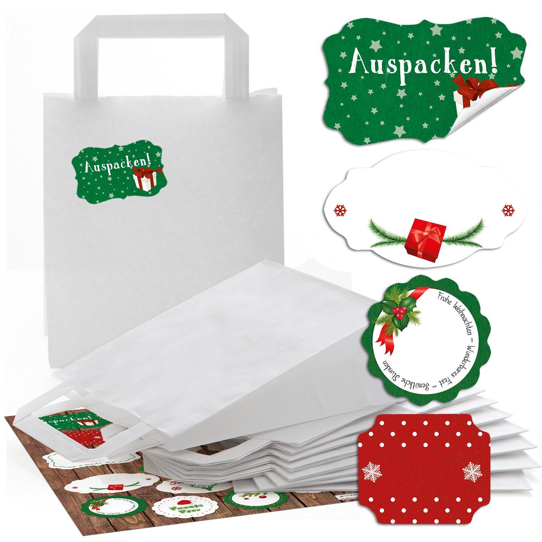 3884bdafa Set: 25 pequeñas bolsas de papel blanco weihnac htstüten con suelo (18 x 8