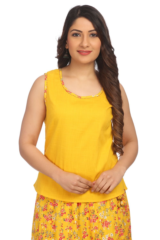 BIBA Women's Yellow Straight Cotton Top Size 34