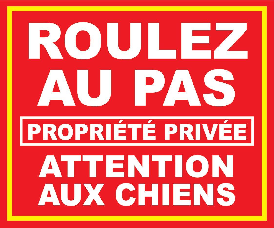 Panneau Roulez au pas propriété privée attention aux chiens panneauxsignaletiques.fr